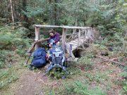 sunshine coast trail hike lewis lake to tin hat mountain filling up water filter